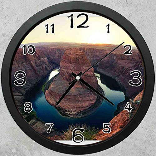 47BuyZHJX 10-inch Round Decorative Wall Clock (Black),Backdrop Pattern - F.Mints Horseshoe Bend at Sunset,Home School Office Wall Clock.