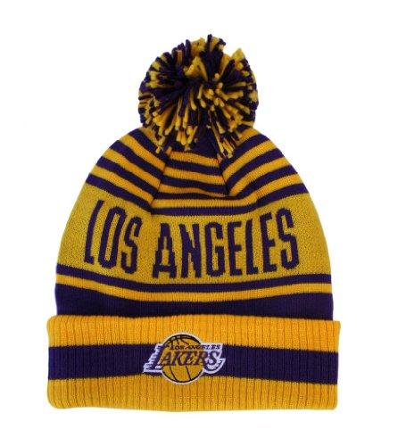 NBA Los Anggeles Lakers Pom/Cuffed Adidas Knit Hat - Osfa - KZD71 by adidas