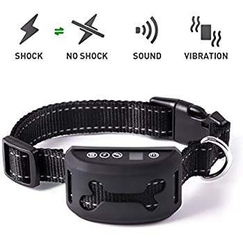 Bark Collar [2018 Upgraded Version] Dog Bark Collar 7 Adjustable Sensitivity and Intensity Levels for Anti Bark Control with Vibration No Harm Shock, Rechargeable and Rainproof Black