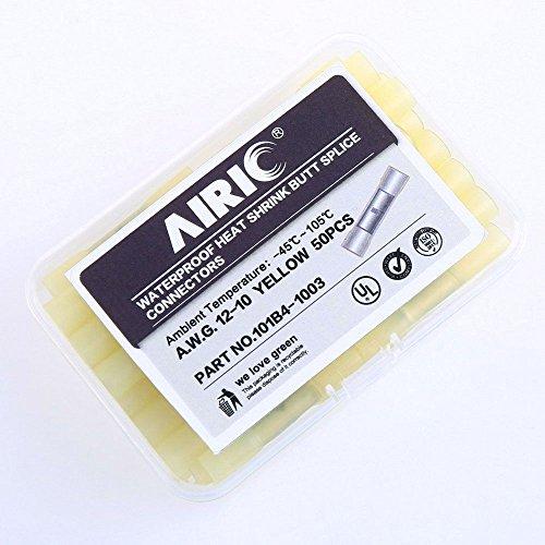 AIRIC 50pcs Waterproof Heat Shrink Butt Splice Connectors Yellow 12-10 Gauge ...