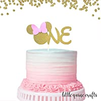 1 pc ONE Minnie Mouse Head Pink Gold Glitter Cake Topper for first Birthday Baby girl smashed cake