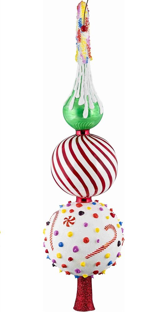 Glitterazzi Candy Theme Finial Polish Glass Christmas Tree Topper 16 Inch New
