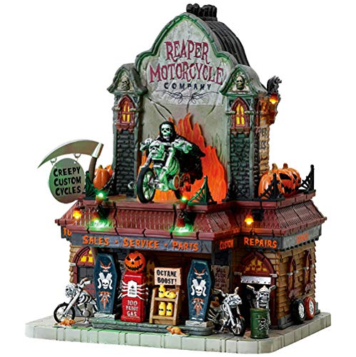 Lemax 2017 Halloween Spooky Town Reaper Motorcycle Co. Exterior Lighted Building