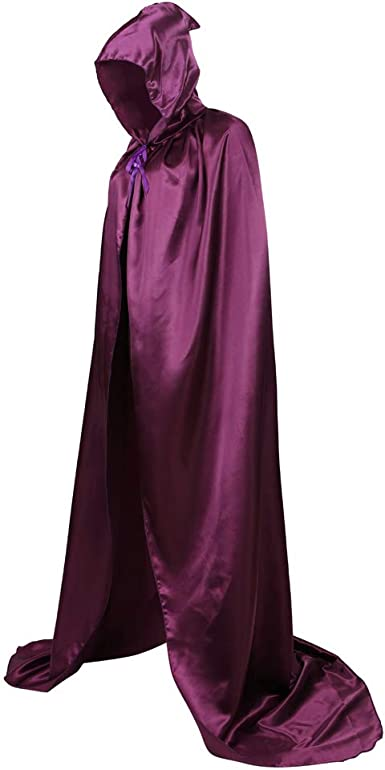 Womens Velvet Hooded Cloak Costumes Halloween Wizard Hooded Party Cape Christmas Purple
