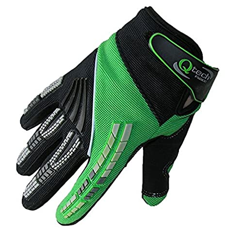 LARGE Qtech Pro Bikers Motorcycle Motorbike Riding Adult GLOVES for Trials Enduro BMX Off Road BIKE Motocross Urban Touring with Short Cuff Protected ORANGE