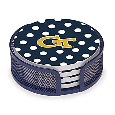 Thirstystone VGATC3-HA23 Stoneware Drink Coaster Set with Holder, Georgia Institute of Technology Dots