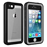 iPhone 5 5S SE Waterproof Case, Upgraded Shockproof Dropproof Dirtproof Rain Snow Proof Full Body Protective Cover IP68 Underwater Case Built-in Screen Protector for iPhone 5S 5 SE (Transparent)