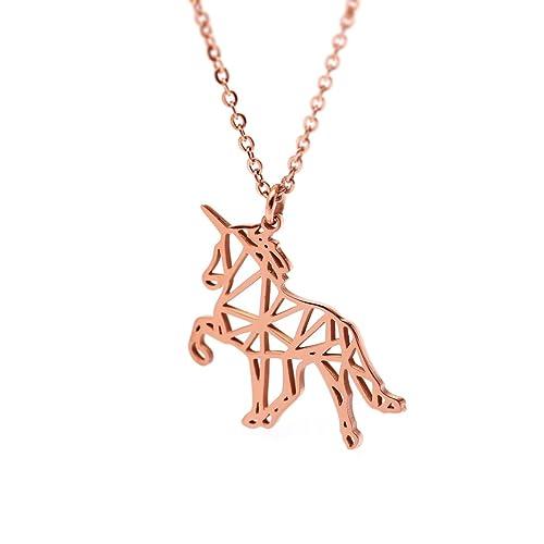 Amazon Hanfly 18k Rose Gold Plated Unicorn Necklace Horse