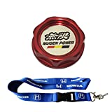New 1pcs Honda Keychain Lanyard Badge Holder + Red Mugen Racing Oil Filler Cap Fuel Tank Cover Aluminum