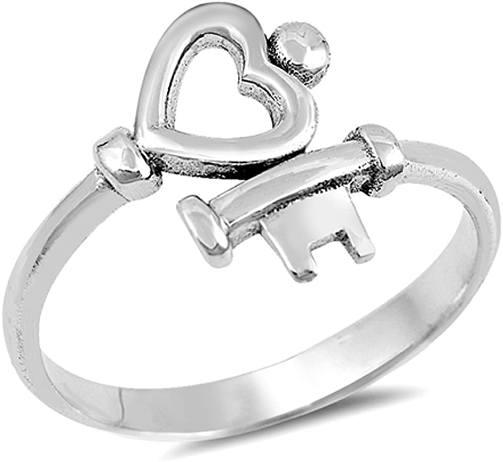 Heart Key Love Promise Ring New .925 Sterling Silver High Polish Band Size 6