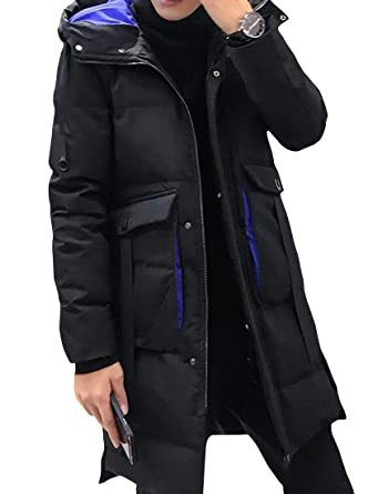 Suncolor8 Mens Winter Thickened Zip Front Loose Fit Hoodie Down Quilted Coat Jacket Overcoat