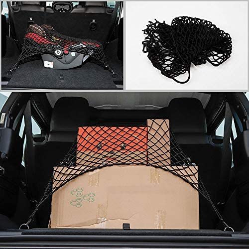 32.2x18.5 Car Universal Rear Trunk Network Cargo Storage Organizer with 4 Hook for Jeep SUV Voodonalavg8