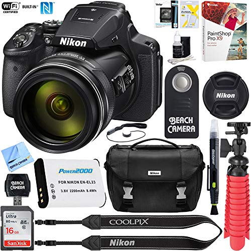 (Nikon COOLPIX P900 16MP 83x Optical VR Zoom Digital Camera (Renewed) + 16GB Memory & Accessory Bundle)