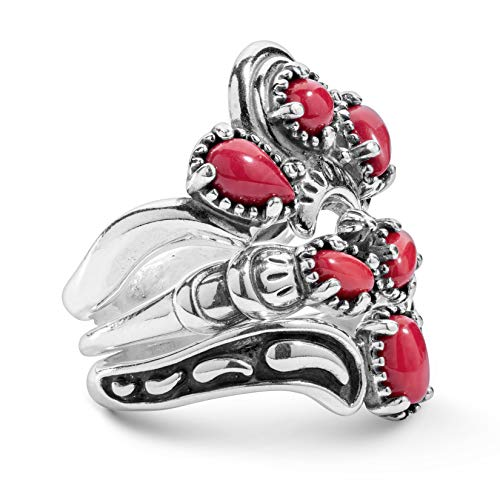 925 Silver Red Coral Gemstone Stack Ring Set - Size 5