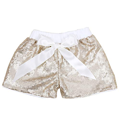 Cilucu Baby Girls Sequin Shorts Toddlers Sparkle Short Pants Kids Birthday Shorts Glitter on Both Sides Champagne White 12months