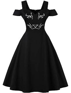 713b4e23143048 FeelinGirl Halloween kostüm Damen Printed Spitze Kurzarm Abendkleid Swing  Kleid