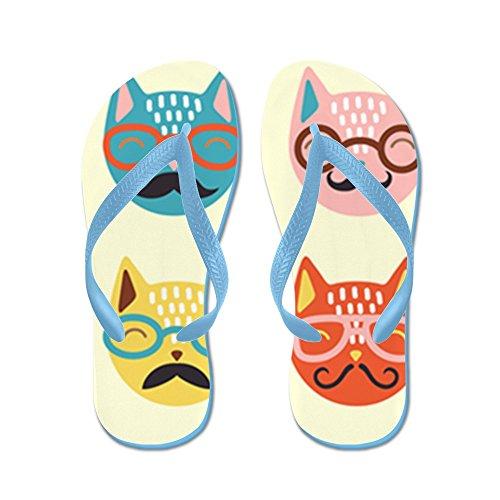 Cafepress Hipster Katter - Flip Flops, Roliga Rem Sandaler, Strand Sandaler Caribbean Blue