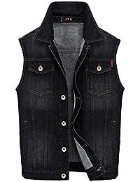 JYG Men's Casual Denim Vest Slim Fit Trucker Vest Jacket Tops