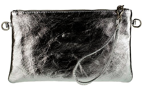 Clutch Girly Metallic Bag Italian Genuine Leather Handbags Grey 6FqWfFwzr
