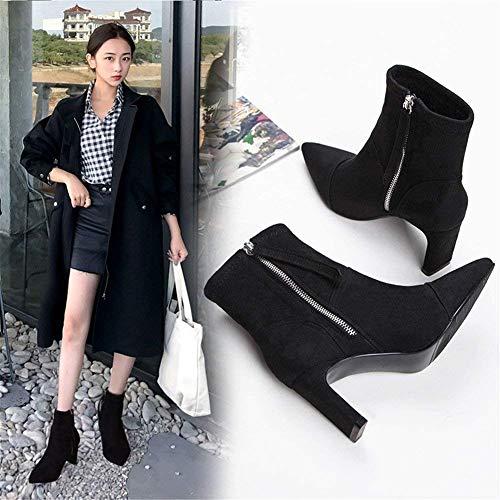 Shoes Women' Elegant Winter 's And Autumn Eu 34 Heel nero Women Boots Deed S Eu Zipper Aliens 38 0z1x1t