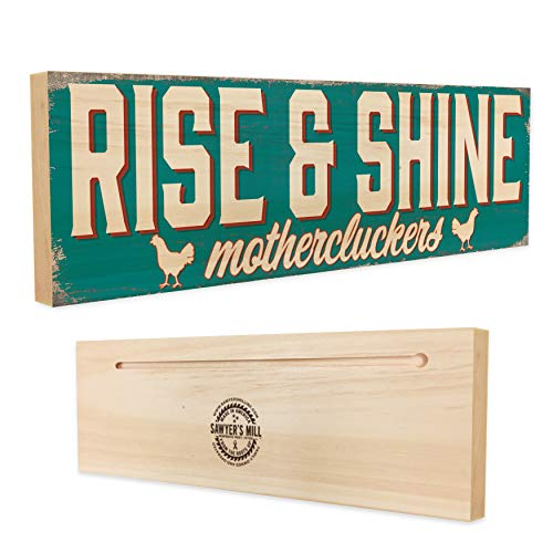 Rise & Shine Mothercluckers | 4-inch by 12-inch Wooden Sign | Good Morning Quote on Wood for Bedroom or Kitchen Decor