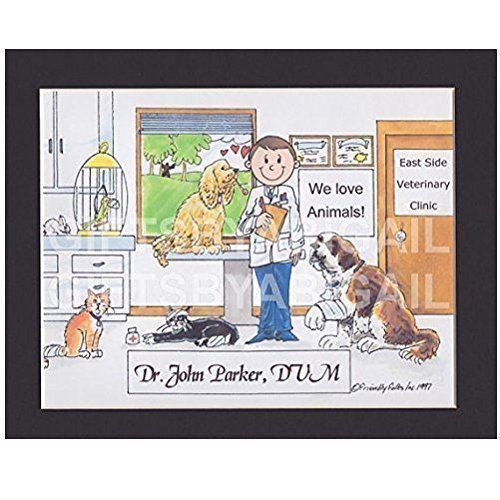 Veterinary Clinic Gift Personalized Custom Cartoon Print 8x10, 9x12 Magnet or Keychain by giftsbyabigail