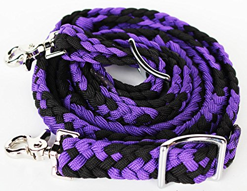 Braided Nylon Tack - PRORIDER Horse Knotted Roping Western Barrel Reins Nylon Braided Rein Tack Purple 607132