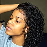 Venice Hair Full Lace Human Hair Wigs for Black Women Virgin Curly Human Hair Wigs Short Full Lace Wig Pre Plucked with Baby Hair (14 Inch, 150% density)