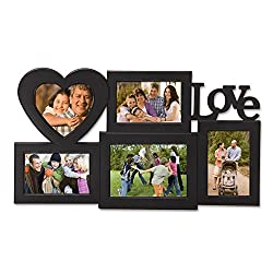 Joveco 5-Opening Plastic Black Wall Hanging Photo Frame Collage LOVE