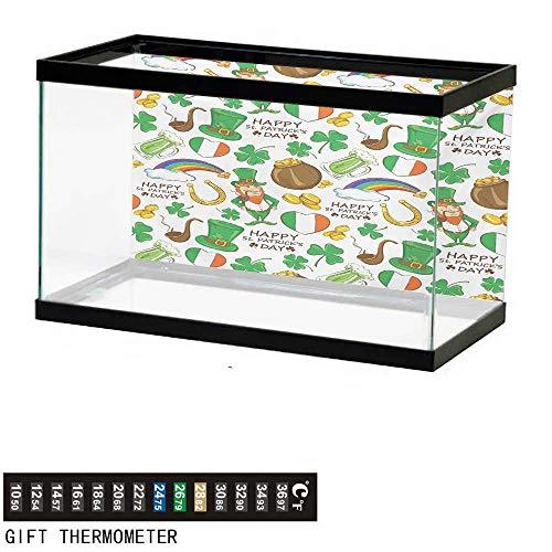 - wwwhsl Aquarium Background,St. Patricks Day,Irish Party Pattern Beer Leprechaun Flag Hearts Rainbow Gold and Shamrock,Multicolor Fish Tank Backdrop 48