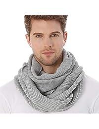 FORBUSITE Knit Winter Infinity Scarf for Men E5081b (Light Grey)