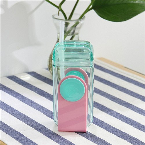 Blue Stones 300ml New Creative Straw Water Bottle with Silicone U Shape Cute Water Bottle for Students Sports and Travel by Blue Stones