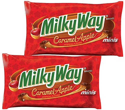 Milky Way Milk Chocolate Caramel Fun Size Halloween Candy Hand Outs - Trick or Treat Candies For Kids (2 Bags Total) - 11.5 (Caramel Apple 2 Pack) -