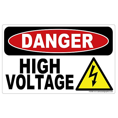 AZ House of Graphics Danger High Voltage Stickers - 5in x 3in - 100 Pack ()