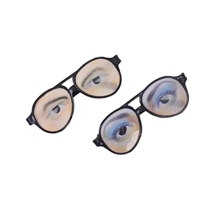 8e037fba9649 Amazon.com  Tinksky 2pcs Halloween Trick Toy Male Female Funny Eyes Glasses  Prank Disguise Eyeglass Party Props  Toys   Games