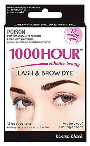 1000 Hour Eyelash & Brow Dye / Tint Kit Permanent Mascara (Brown Black) Hair Dye Eyebrows