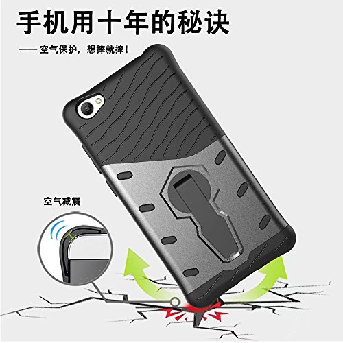 YHUISEN Vivo Y55 Case, Hybrid Tough Rugged Dual Layer Rüstung Schild Schützende Shockproof mit 360 Grad Einstellung Kickstand Case Cover für Vivo Y55 ( Color : Silver )