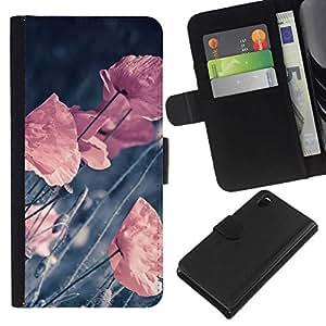 NEECELL GIFT forCITY // Billetera de cuero Caso Cubierta de protección Carcasa / Leather Wallet Case for Sony Xperia Z3 D6603 // RETRO flores en colores pastel VIGNETTE