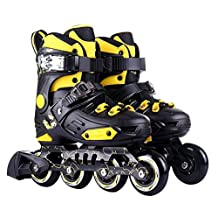 HARD SHELL ROLLER INLINE SKATES SHOES WITH ABEC-7 AND PU WHEELS YELLOW BLACK FOR CHILDREN