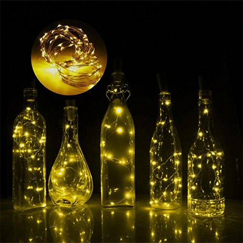 WXLAA Wine Bottle String Light 1.5M 15 LED Wine Bottle Cork Shaped String Light Night Fairy Light Lamp Yellow