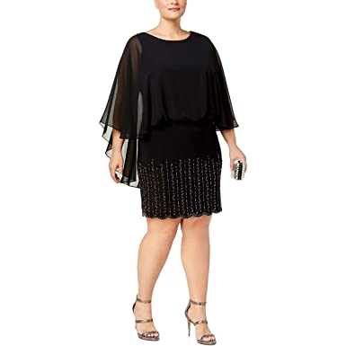 25b38714276 Image Unavailable. Image not available for. Color  Xscape Womens Plus Cape Embellished  Cocktail Dress ...