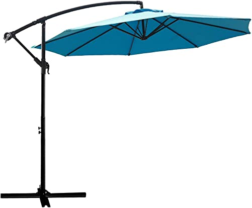 FLAME SHADE 10 ft Offset Cantilever Outdoor Patio Umbrella – Aqua Blue