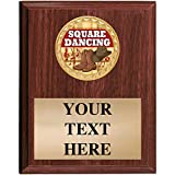 5x7 Walnut Finish Square Dancing Plaques - Customized Square Dance Plaque Awards Prime