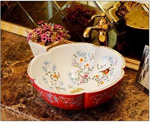 花と鳥のヨーロッパスタイルのカウンタートップ磁器洗面バスルームには、セラミック洗面カウンターシンク
