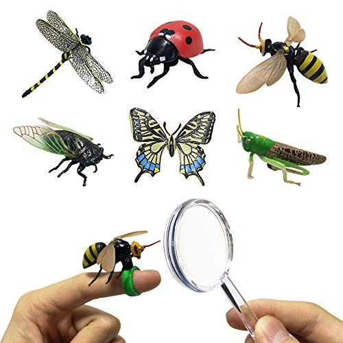 JollySweets Pretend Insect Bug Figures Toys Set, Finger Ring Bug, Magnifying Glass, Dragonfly, Butterfly, Grasshopper, Bee, Ladybird, Cicada, Realistic Pretend Play Toys 6 Pcs