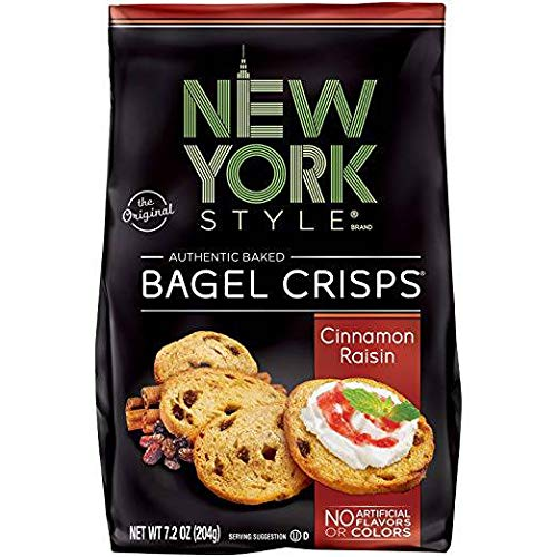 New York Style Bagel Crisps CINNAMON RAISIN, 7.2 Ounce - (Pack of 12) Party Time Snacks by New York Style