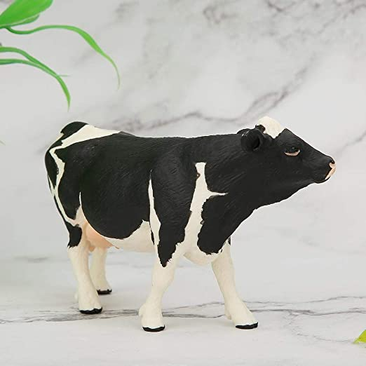 Realistico Animale Figura di Modelli in Miniatura Decorazione di Raccolta Animale Educazione Precoce Giocattolo Cognitivo Regalo per Bambini Adulto Zerodis Modello di Simulazione di Mucca Solido