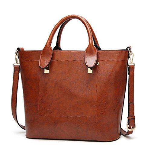 pour sac messager décontracté Sac femme à Sac cuir tout grand solide Sac fourre à en Brown main de pour bandoulière femme HFxTPq