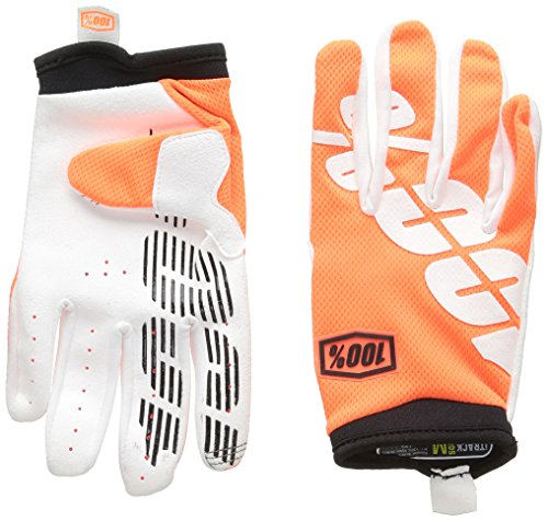100  Itrack Youth Leather Textile Off Road Motorcycle Gloves   Cal Trans Orange   Large