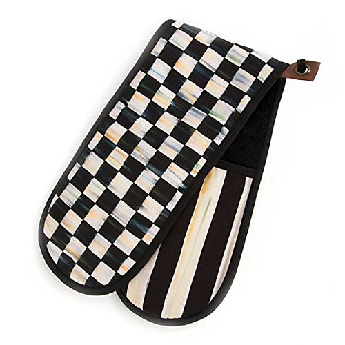 MacKenzie-Childs Cotton Kitchen Pan Holders - Bistro Double Oven Mitt - Black and White Courtly Check Rectangular Pot Holders - 6'' Wide, 29'' Long by MacKenzie-Childs